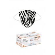 3 Katlı Burun Telli Yeni Nesil Yumuşak Elastik Kulaklı Zebra Desen Maske 50 Li