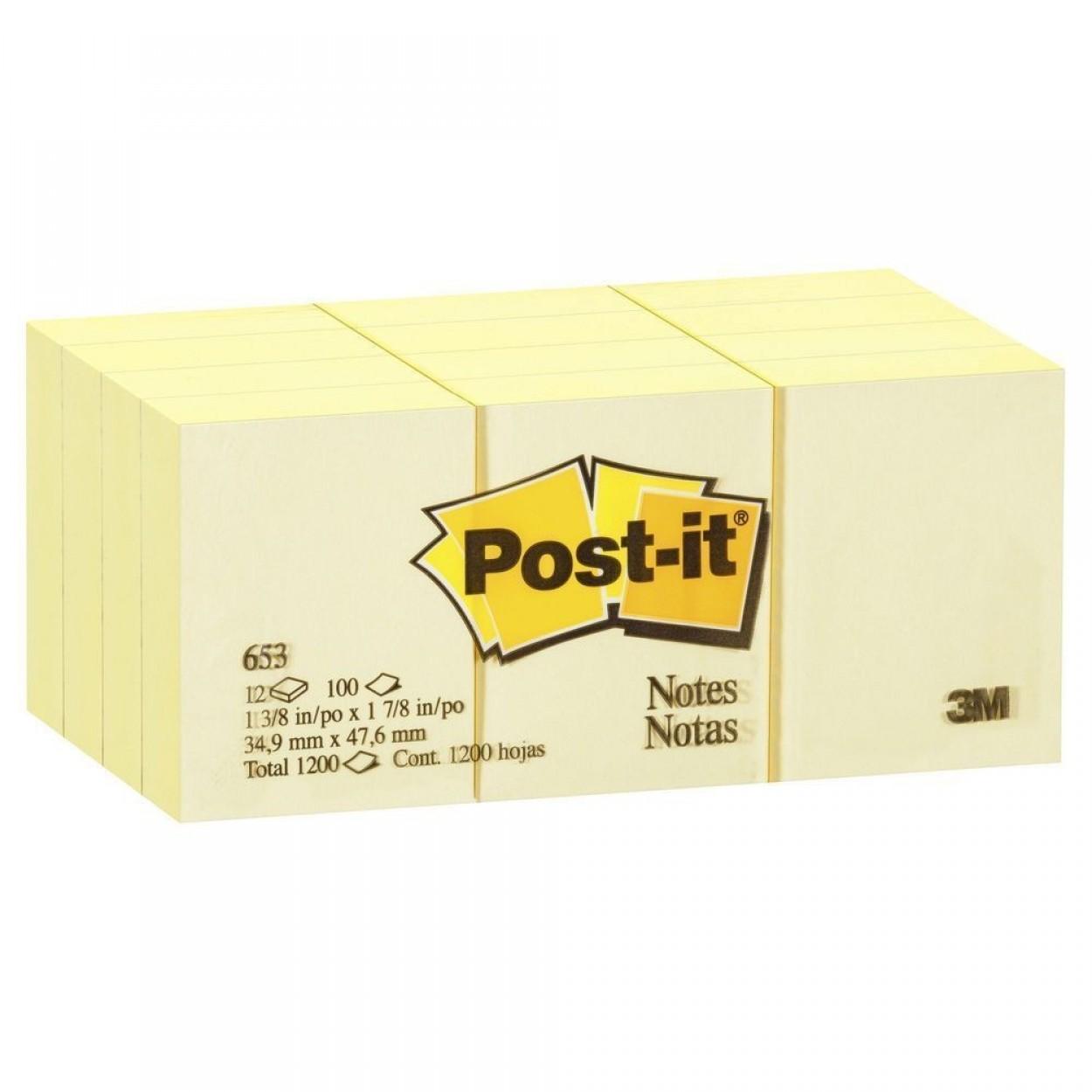 3M Post-it 653 Sarı Not Kağıdı 38mm x 51mm 100 Yaprak 12'Li Paket