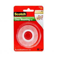 3M Scotch® 4010 Çift Taraflı Şeffaf Montaj Bantı 25,4mm x 1.5mt