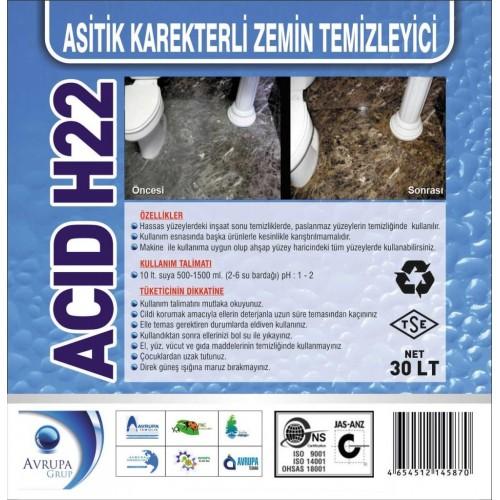 ACID H22 Asitik Karakterli Zemin Tem.30 Litre