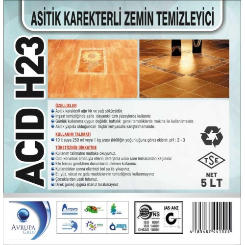 ACID H23 Asitik Karakterli ZeminTem.5 Litre