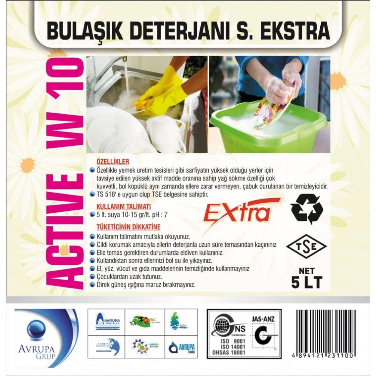 ACTİVE W10 Bulaşık Deterjanı Süper Ekstra 5 Litre