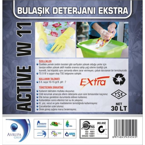ACTİVE W11 Bulaşık Deterjanı  Ekstra 30 Litre