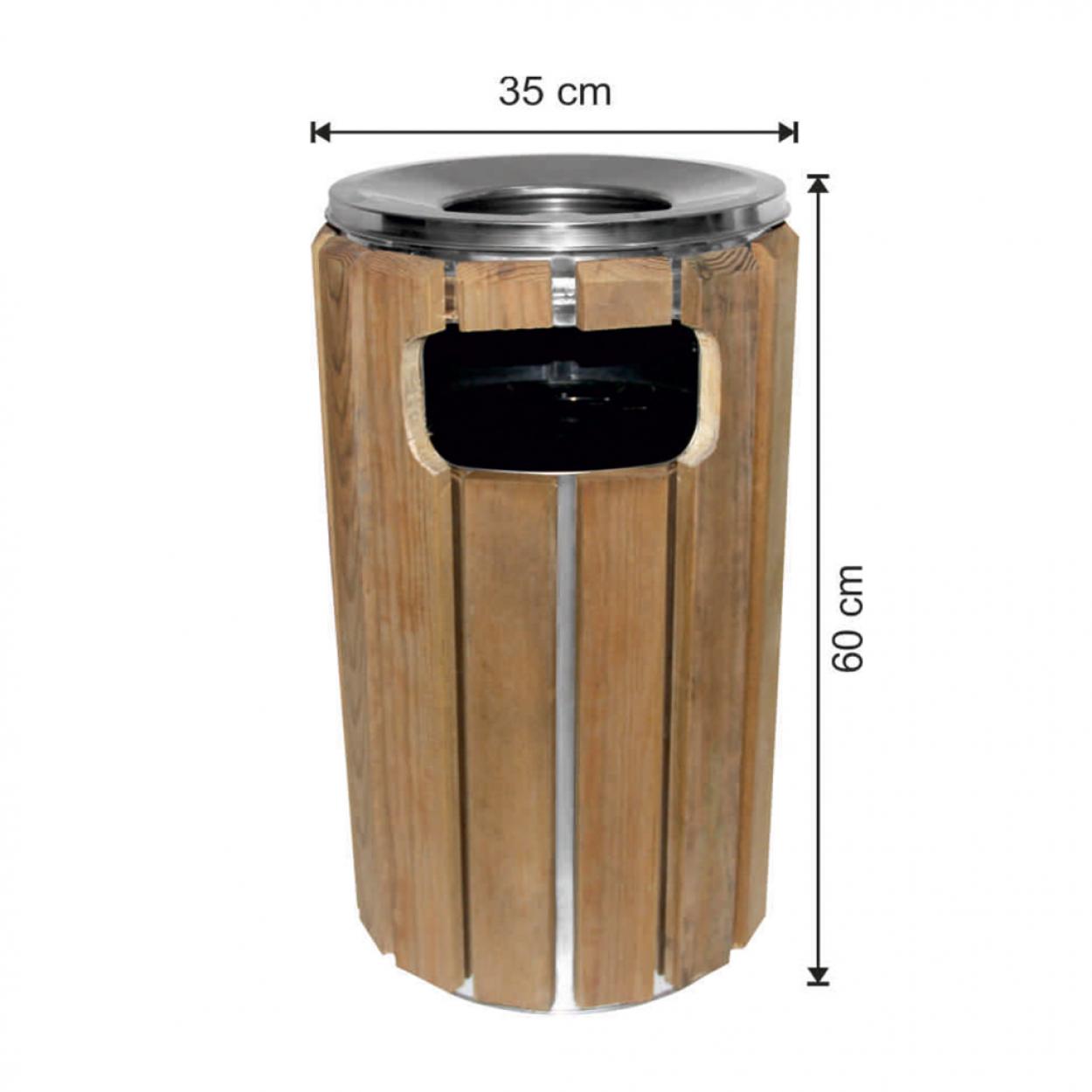 Ahşap Dekorlu Yuvarlak Çöp Kovası 57 Litre