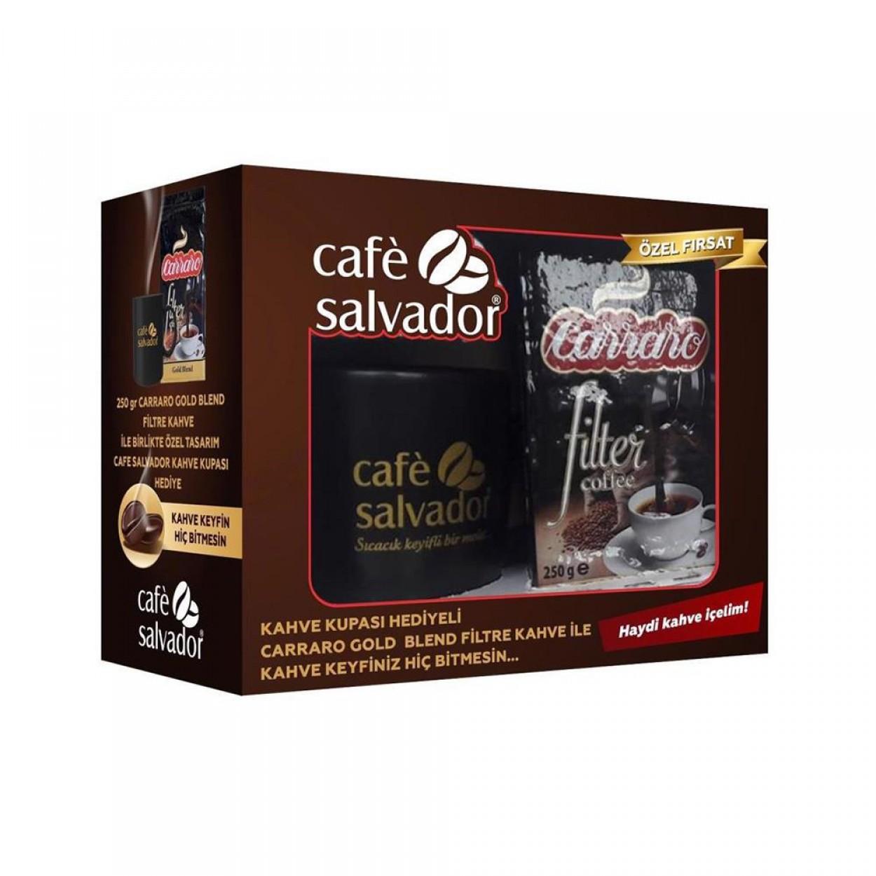 Café Salvador Carraro Gold Blend Filtre Kahve 250 gr.Kupa Hediyeli