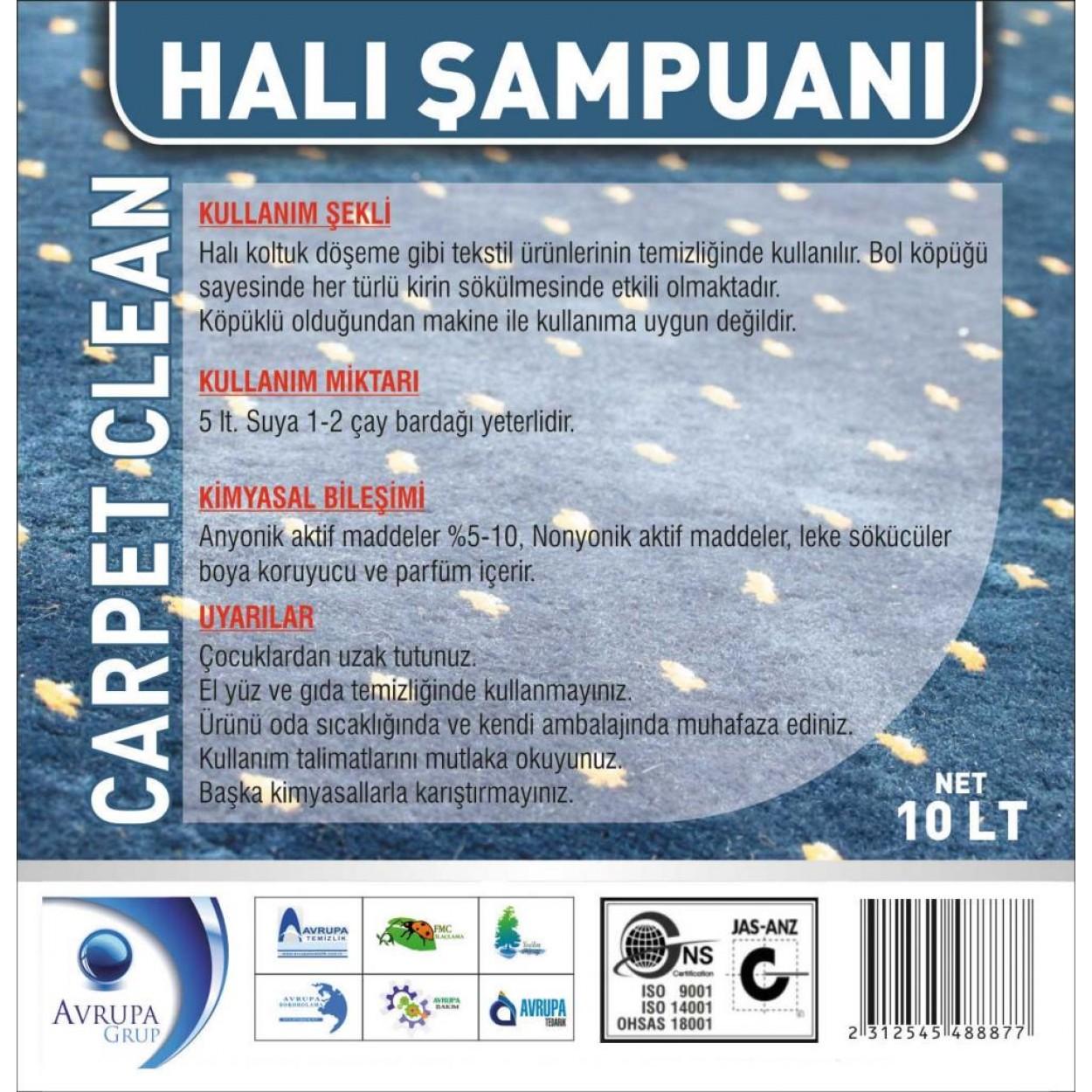 Carpet Clean Halı Şampuanı 10 Litre