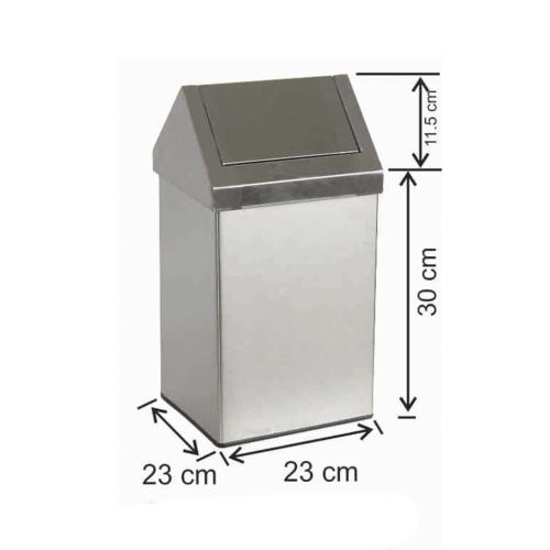 Çatı Kapaklı Çöp Kovası 16 Litre Paslanmaz