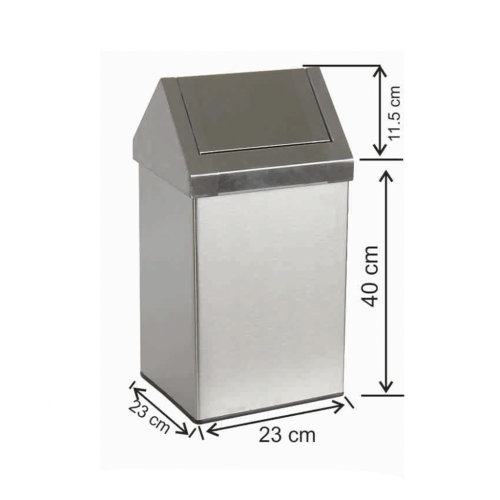 Çatı Kapaklı Çöp Kovası 21 Litre Paslanmaz