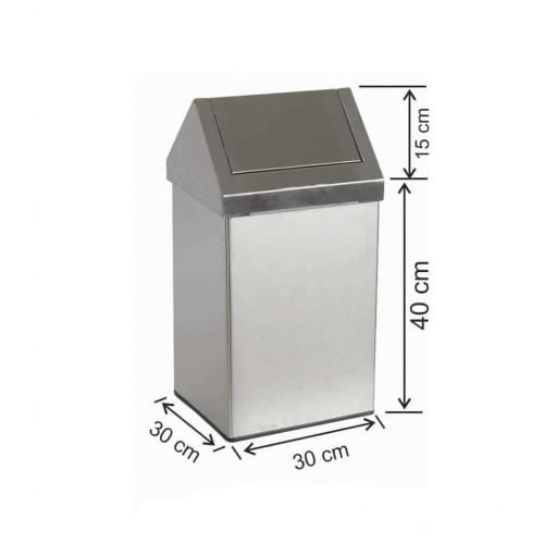 Çatı Kapaklı Çöp Kovası 36 Litre Paslanmaz
