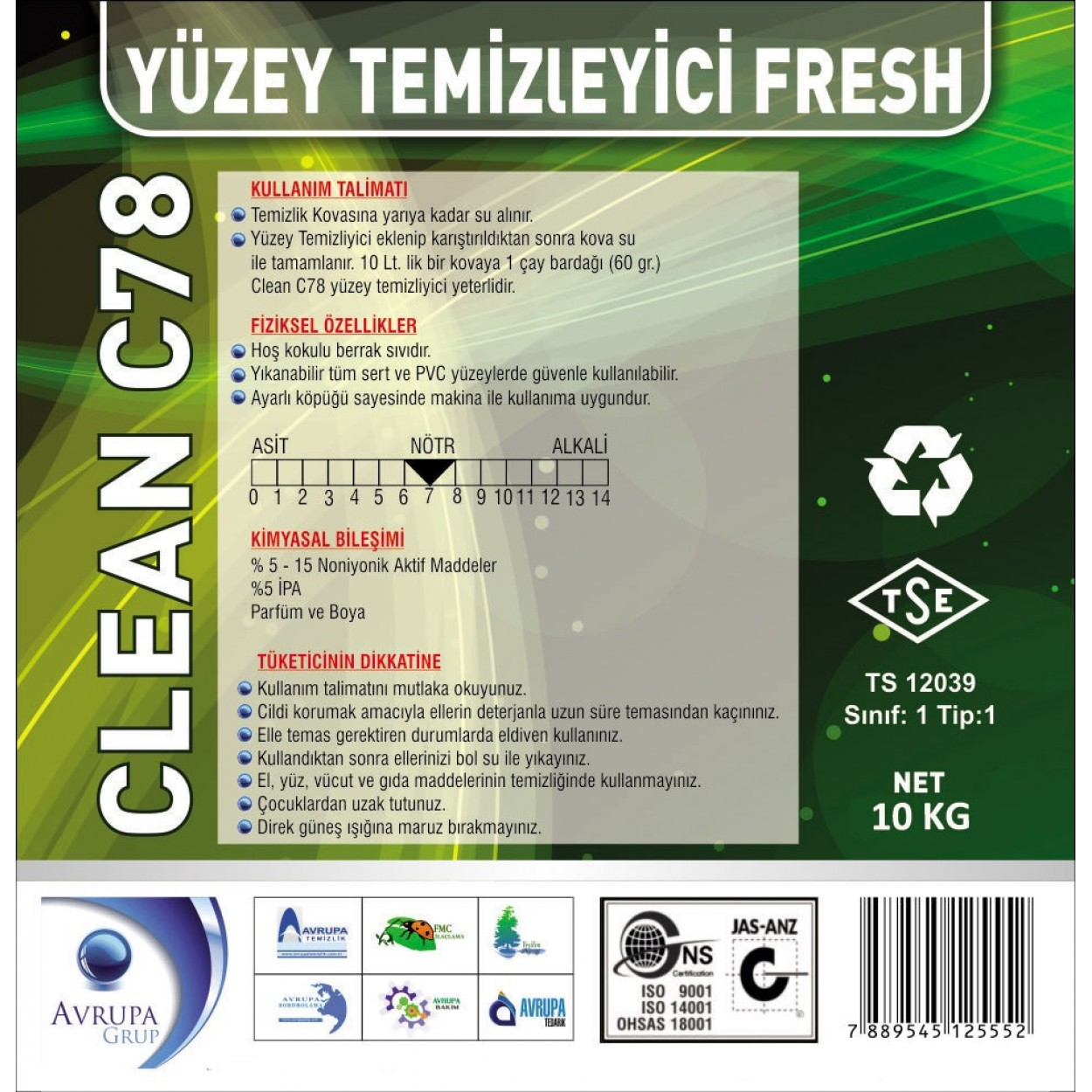 Clean C78 Yüzey Temizleyici Fresh Kokulu 10 Litre
