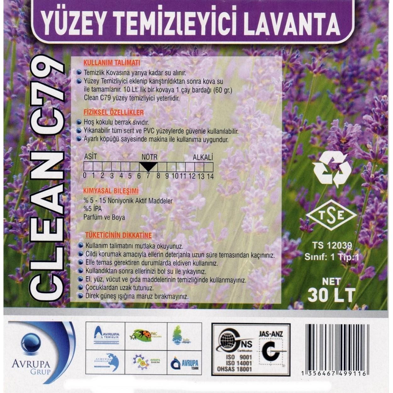 CLEAN C79 Yüzey Temizleyici Lavanta Kokulu 30 Litre