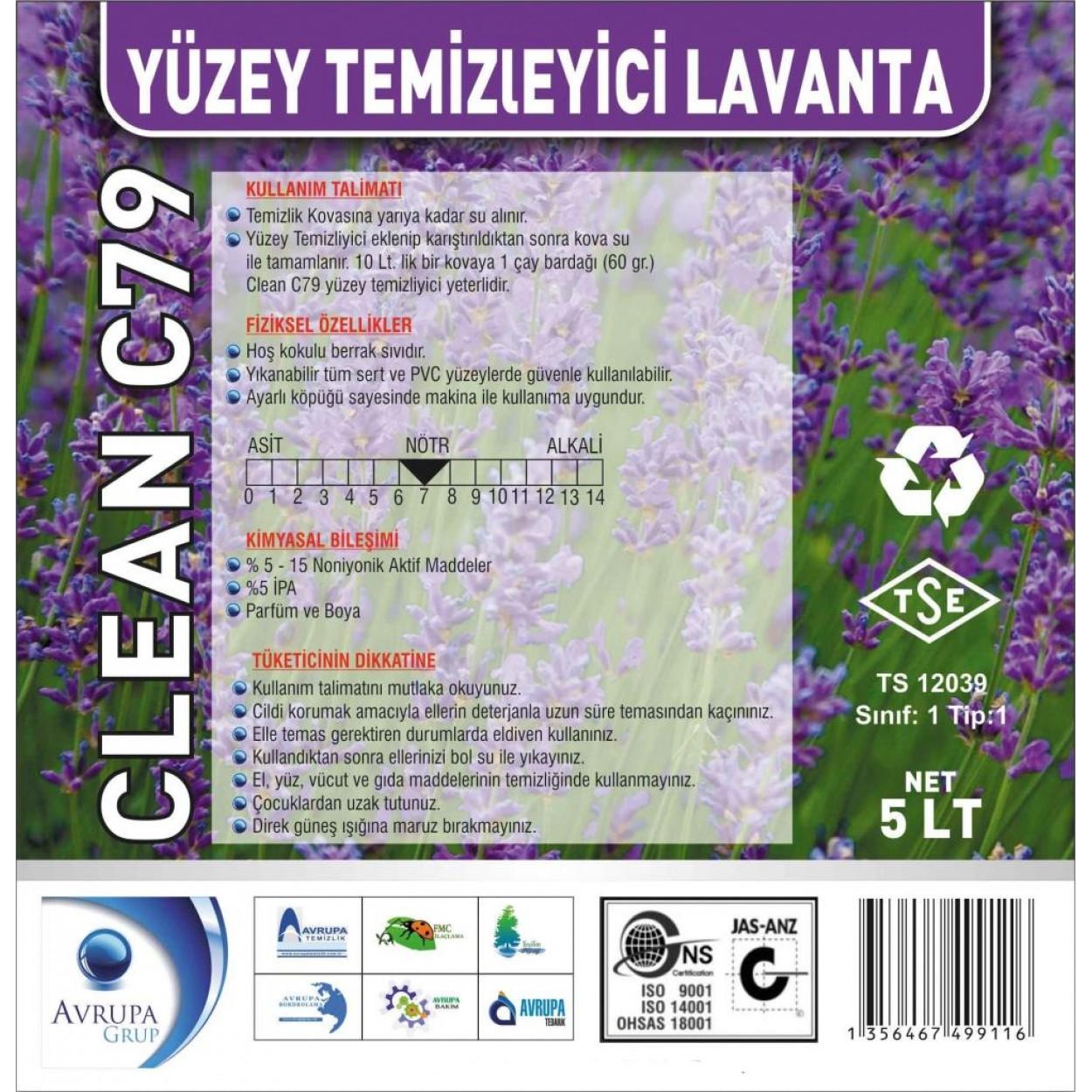 CLEAN C79 Yüzey Temizleyici Lavanta Kokulu 5 Litre