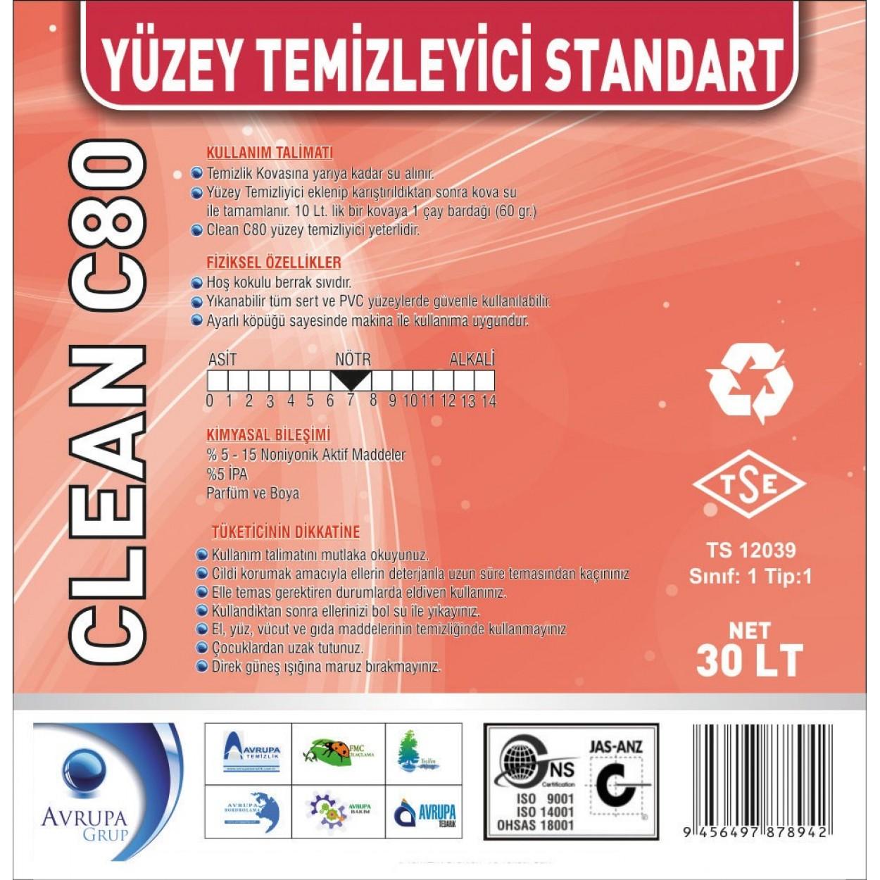 CLEAN C80 Yüzey Temizleyici Standart 30 Litre