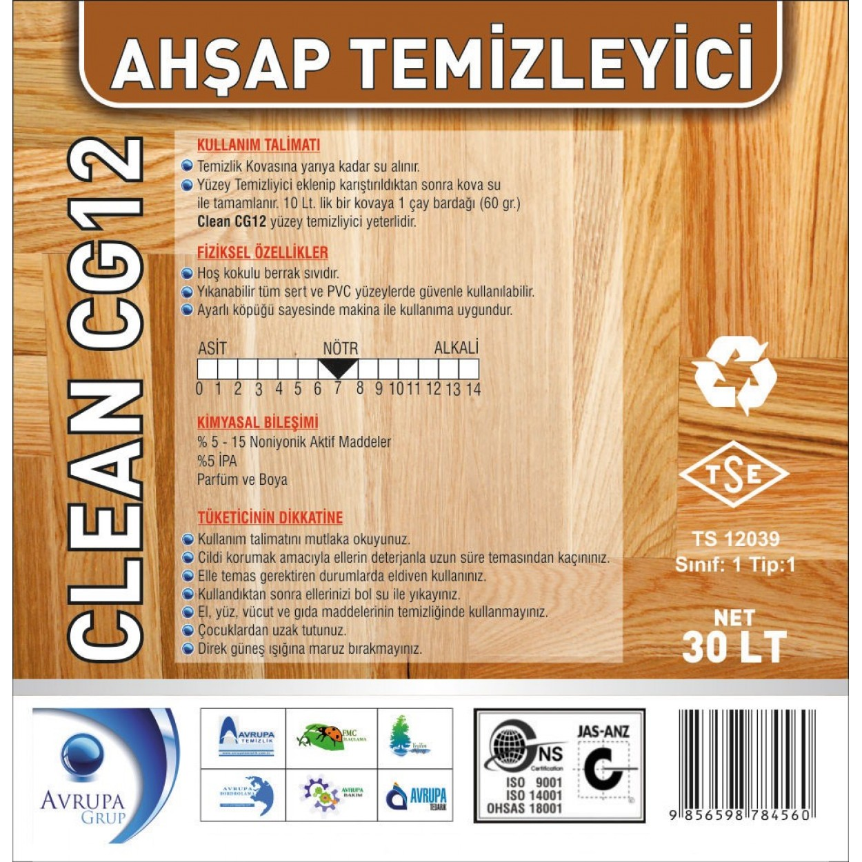 Clean CG 12 Ahşap Temizleme Ürünü 30 Litre
