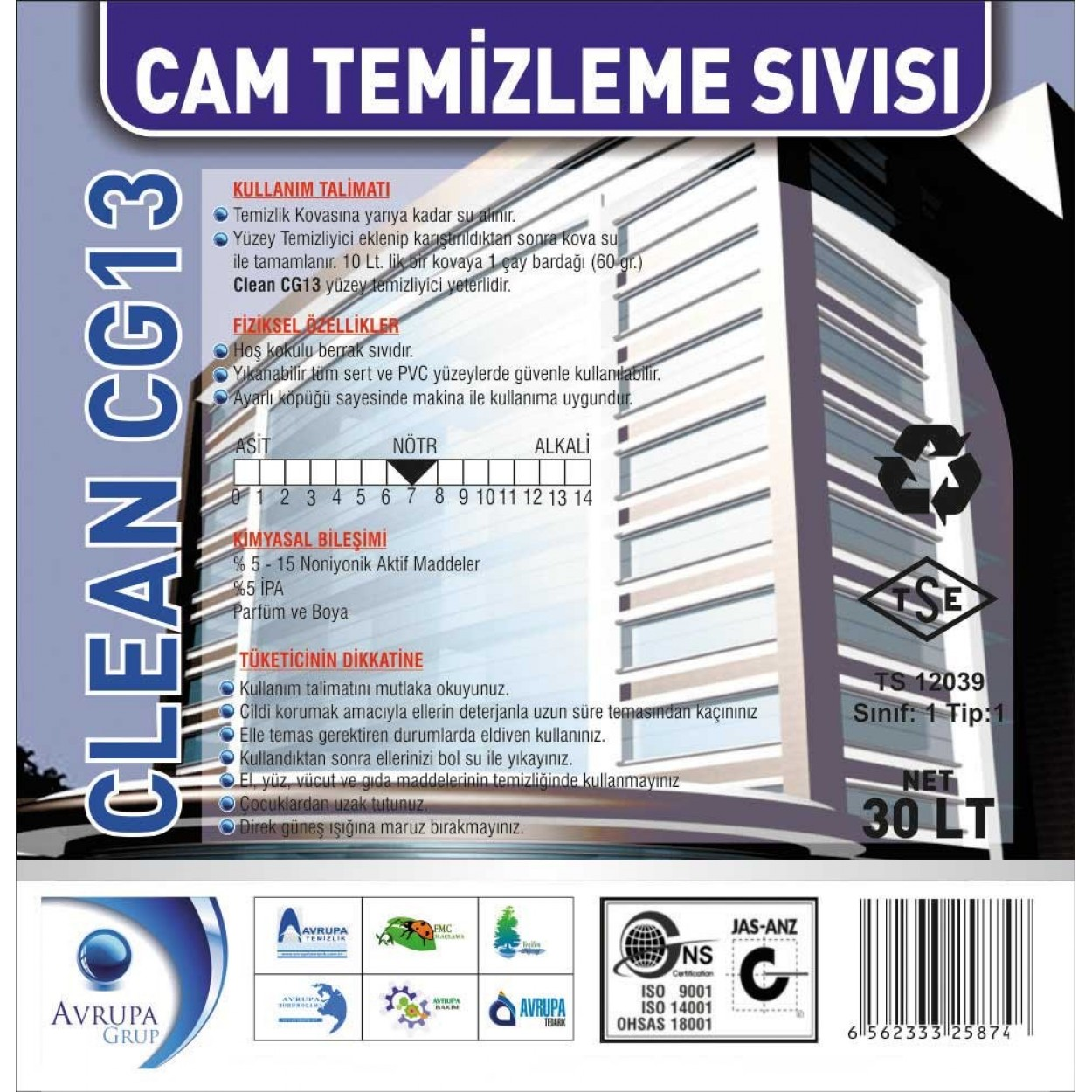 Clean CG13 Cam Temizleme Sıvısı 30 Litre