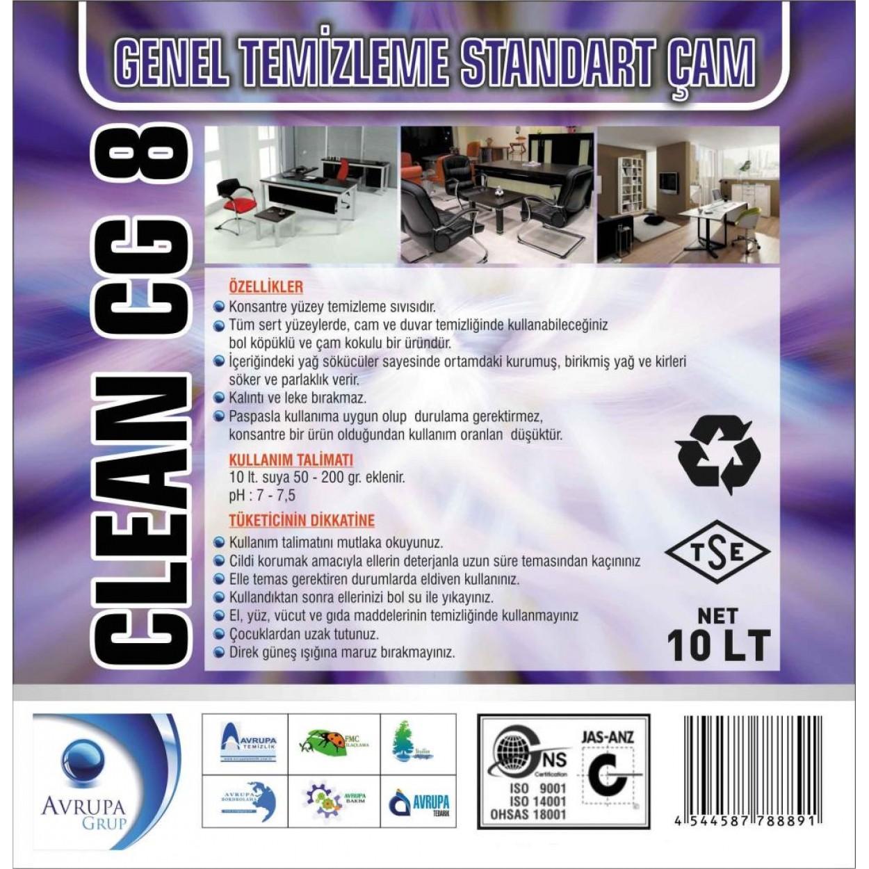 CLEAN CG8 Genel Temizlik Maddesi Çam Kokulu 10 Litre
