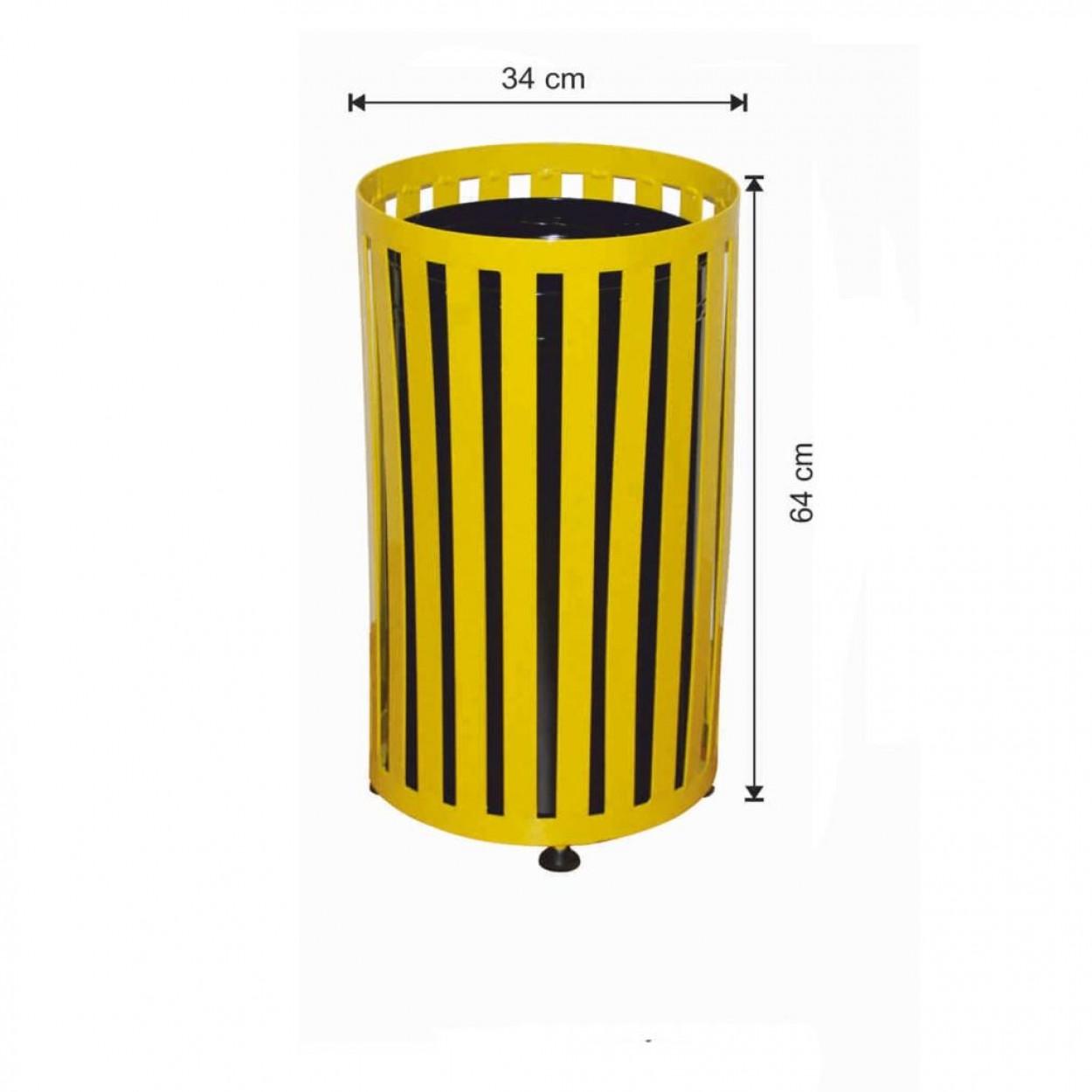 Dış Alan Çöp Kovası Yuvarlak Sarı Renk