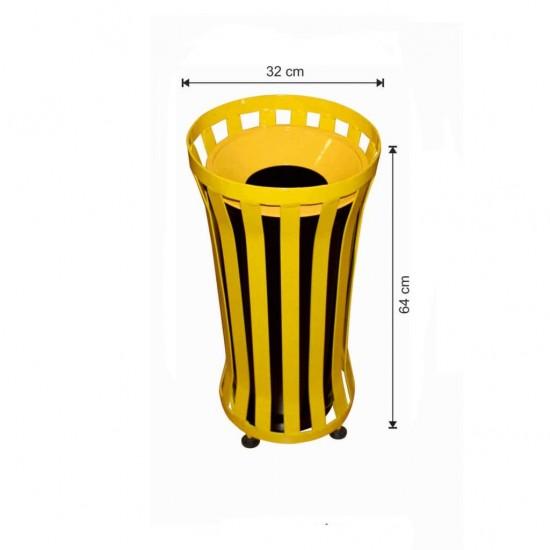 Dış Alan Çöp Kovası Yuvarlak Sarı Renkli