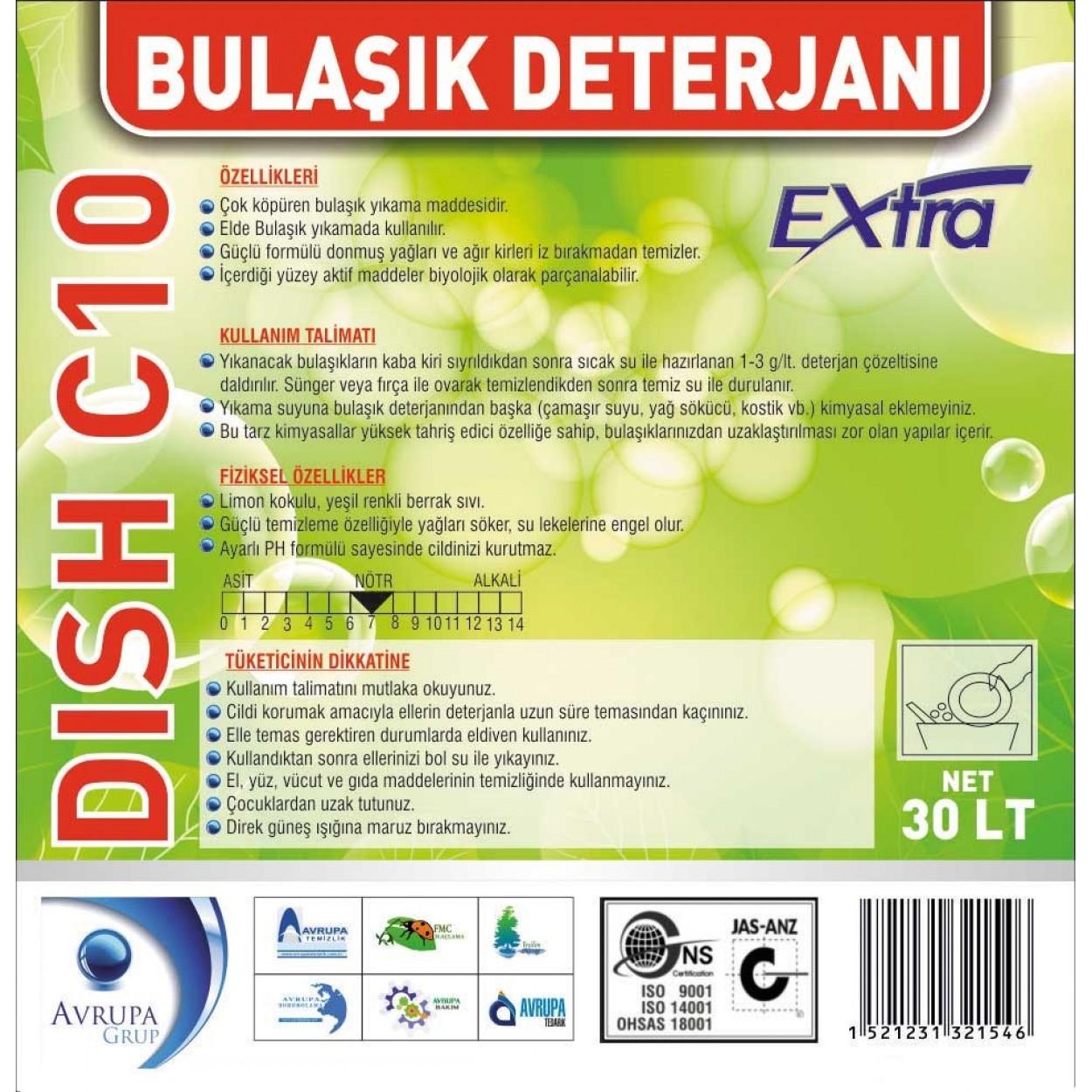 DISH C10 Bulaşık Deterjanı Ekstra 30 Litre