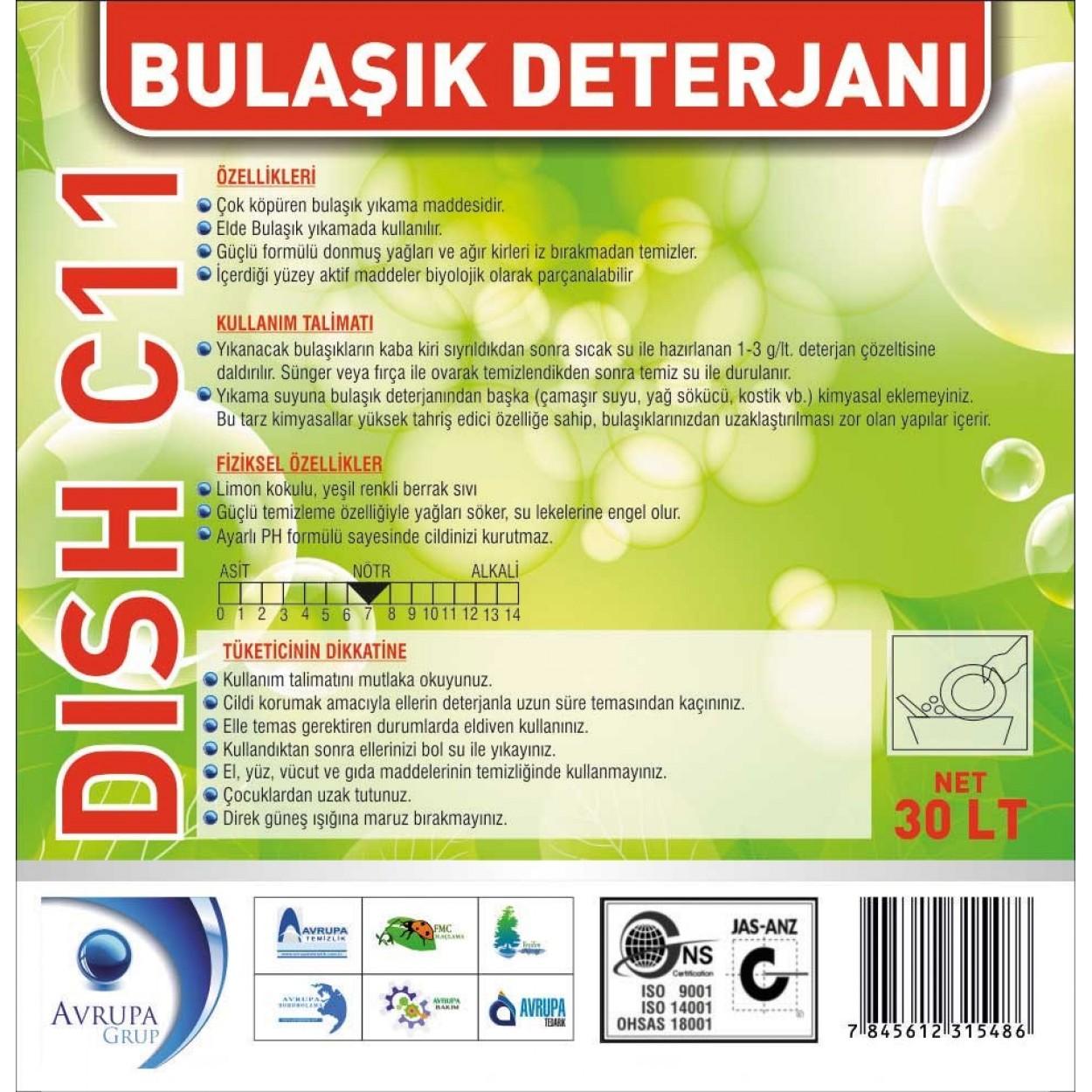 DISH C11 Bulaşık Deterjanı Standart 30 Litre