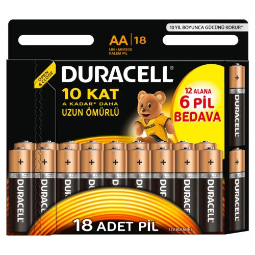 Duracell Alkalin AA Kalem Pil Ekonomik 12+6'lı Paket
