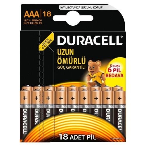 Duracell Alkalin AAA İnce Kalem Pil Ekonomik 12+6'lı Paket