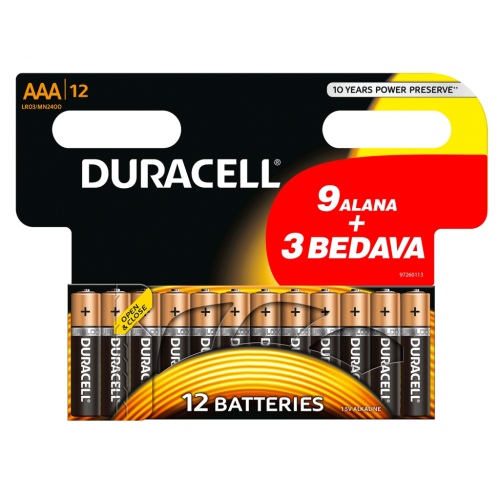 Duracell Alkalin AAA İnce Kalem Pil Ekonomik 9+3'lü Paket