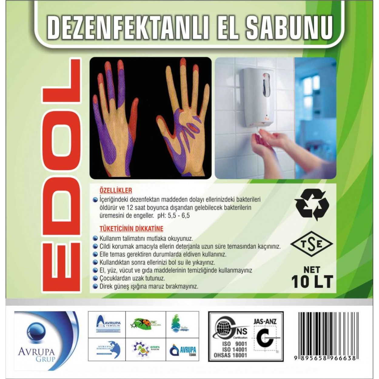 EDOL Dezenfekatnlı Sıvı El Sabunu 10 Litre