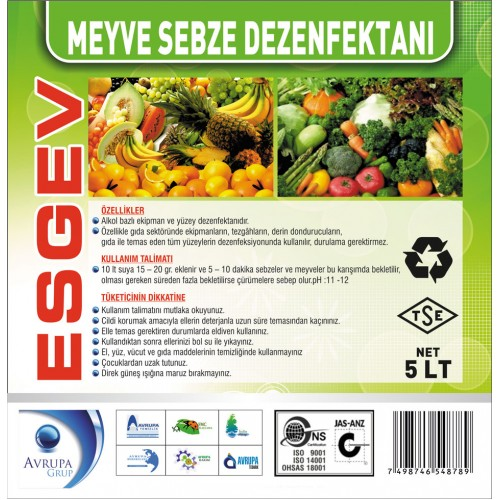 ESGEV Hijyenik Meyve ve Sebze Dezenfekte Maddesi 5 Litre