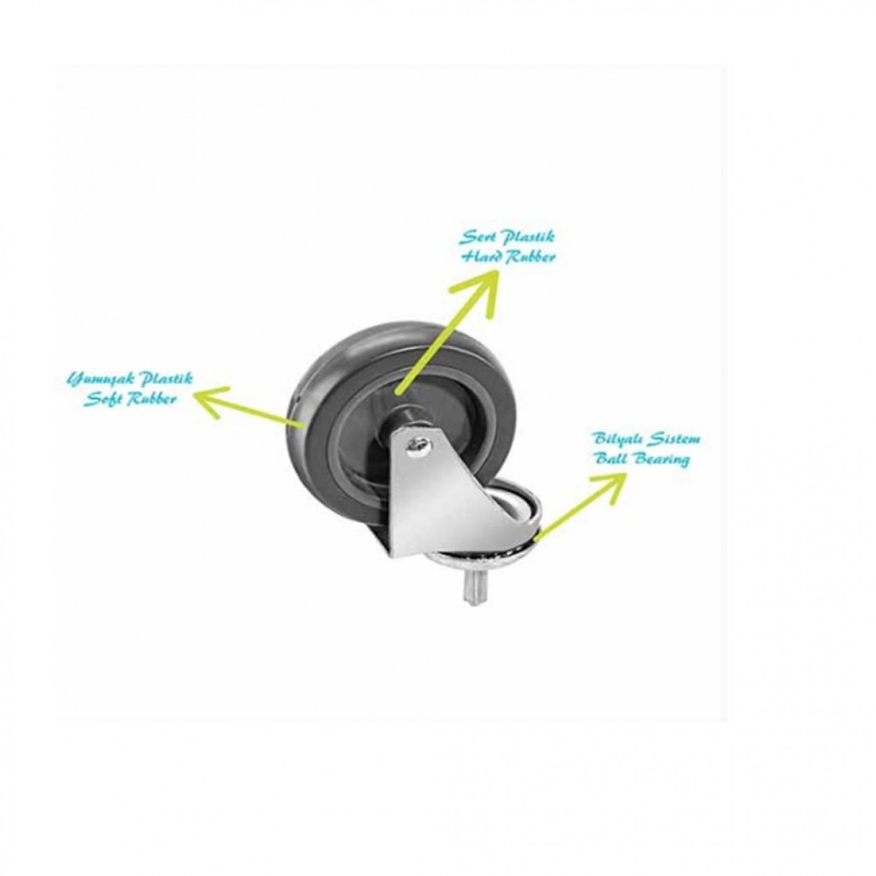 Euro Çift Kovalı Paspas Arabası Krom Taşıyıcılı Metal Presli Sepetli