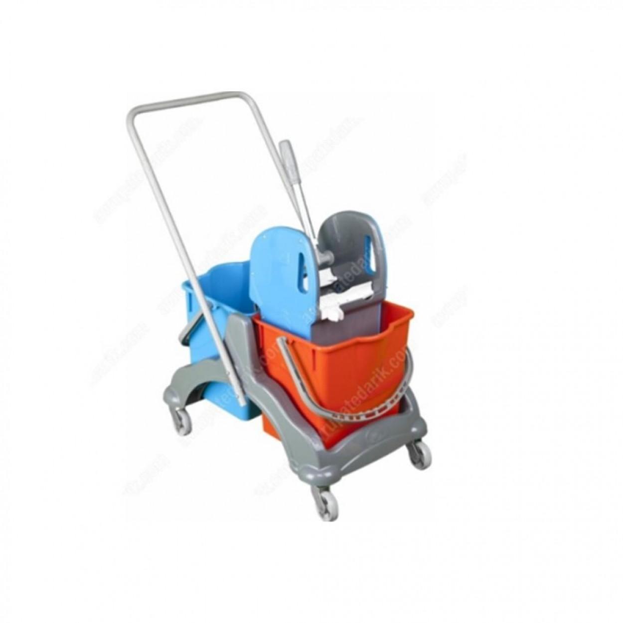 Euro Çift Kovalı Paspas Arabası Plastik Taşıyıcılı Plas.Presli