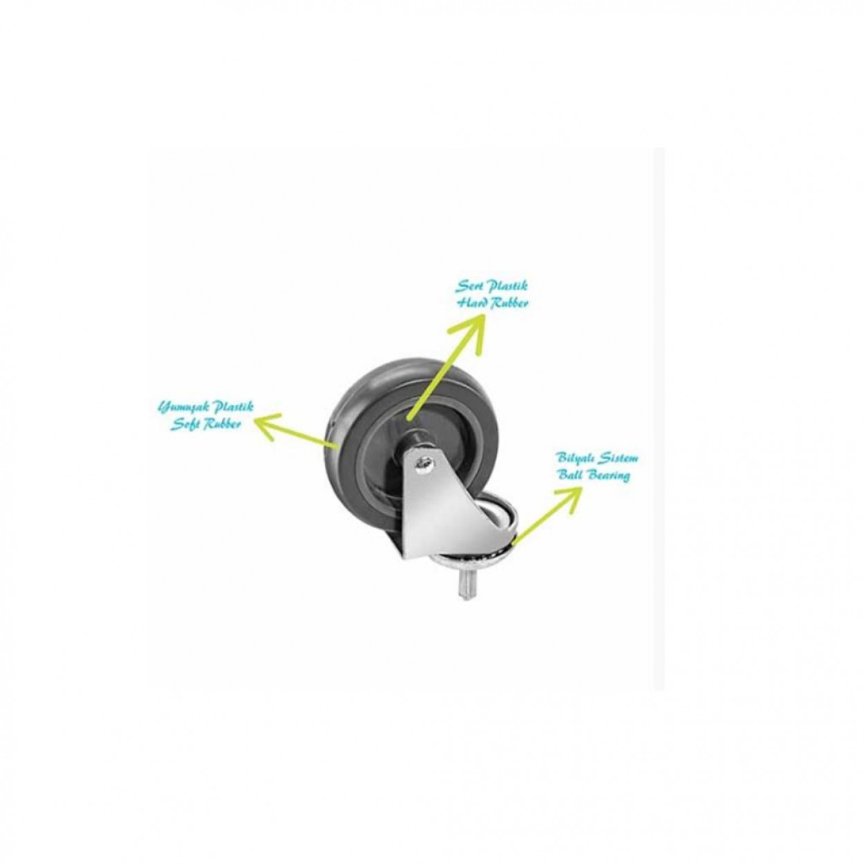 Euro Çift Kovalı Paspas Arabası Plastik Taşıyıcılı Plas.Presli Sepetli