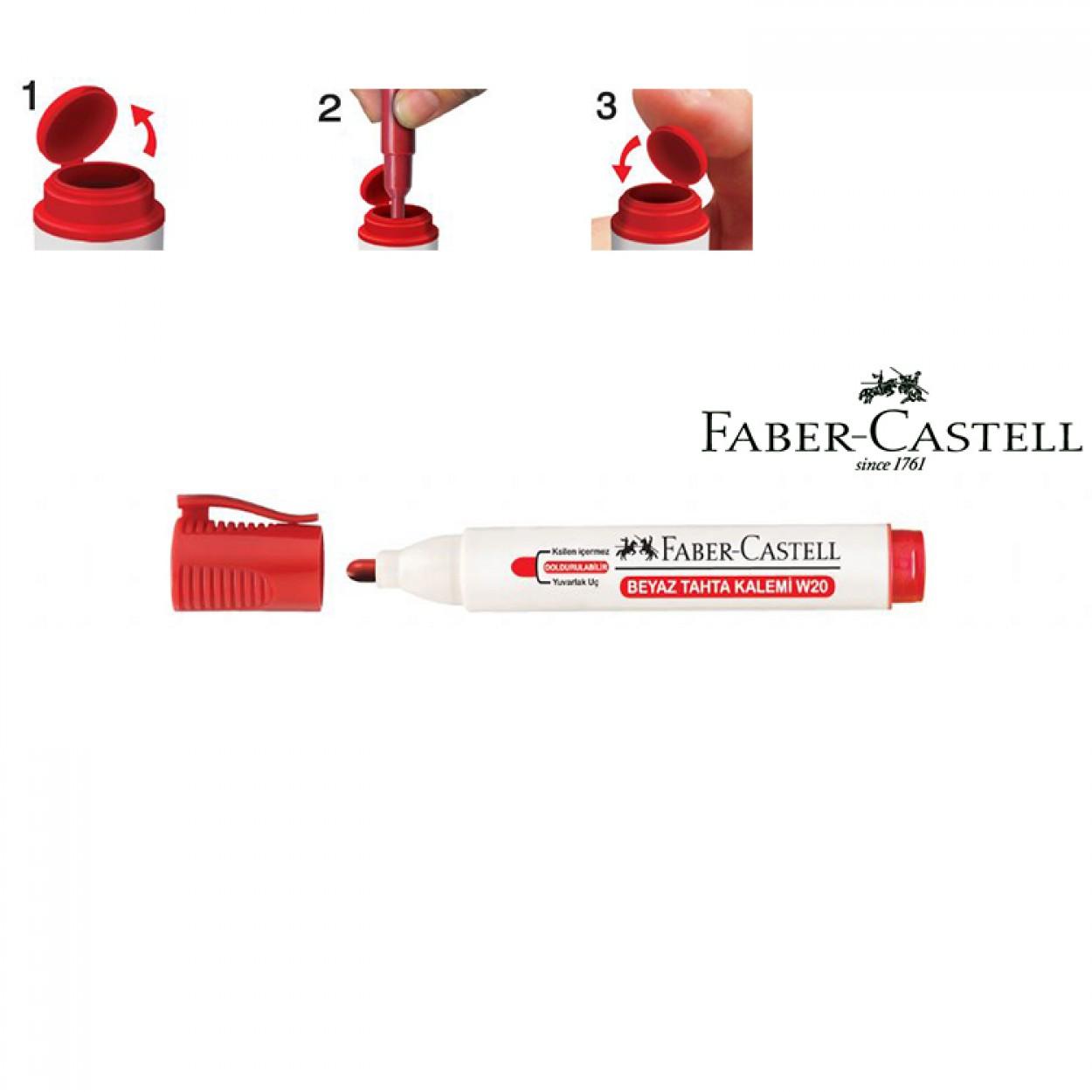 Faber-Castell Beyaz Tahta Kalemi W20 Kırmızı 10'Lu