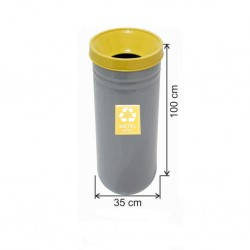 Geri Dönüşüm Çöp Kovası Boyalı 35*100 Sarı
