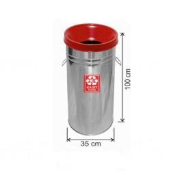 Geri Dönüşüm Çöp Kovası Paslanmaz 35*100 Kırmızı