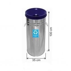 Geri Dönüşüm Çöp Kovası Paslanmaz 35*100 Mavi