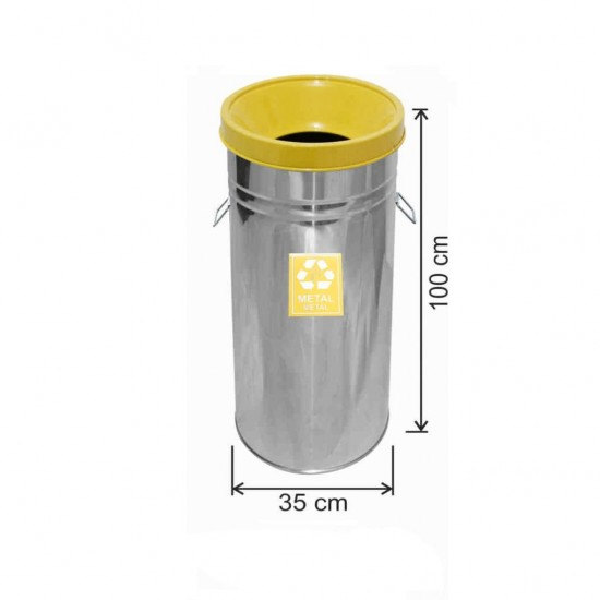 Geri Dönüşüm Çöp Kovası Paslanmaz 35*100 Sarı