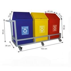 Geri Dönüşüm Konteyneri 3 Lü Kafesli ve Tekerlekli