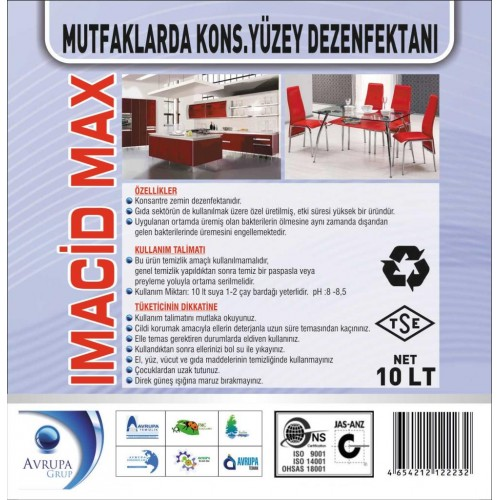 IMACIDE MAX.Mutfaklarda Kons.Yüzey Dezenfektanı 10 Litre