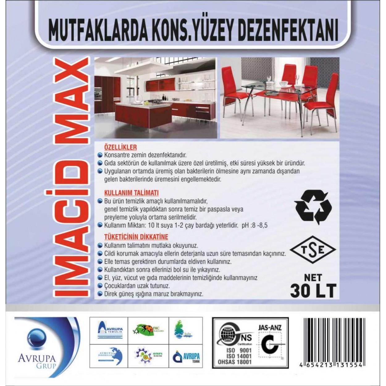 IMACIDE MAX.Mutfaklarda Kons.Yüzey Dezenfektanı 30 Litre