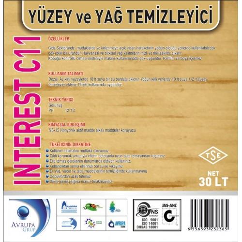 INTEREST C11 Yağ Çözücü Madde 30 Litre