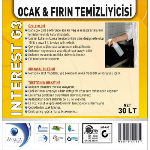 INTEREST G3 Ocak ve Fırın Temizleyici 30 Litre