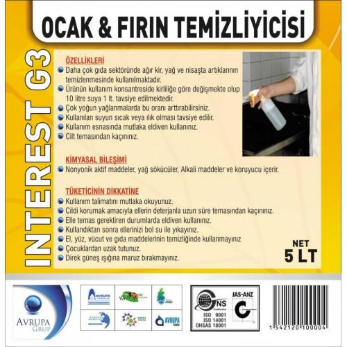 INTEREST G3 Ocak ve Fırın Temizleyici 5 Litre