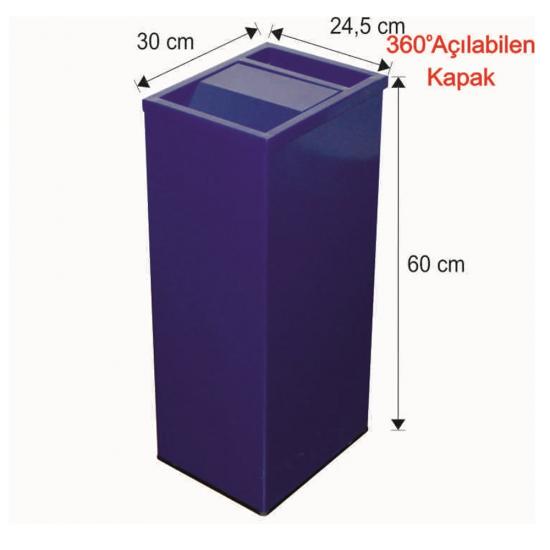Küllüklü Çatı Kapaklı Çöp Kovası Boyalı 45 Litre