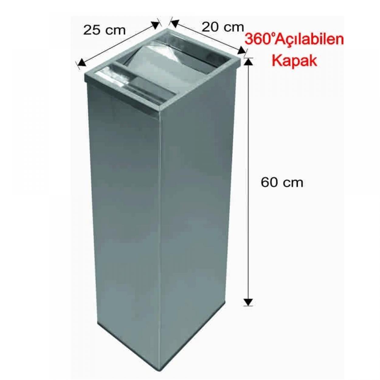 Küllüklü Çatı Kapaklı Çöp Kovası Paslanmaz 30 Litre