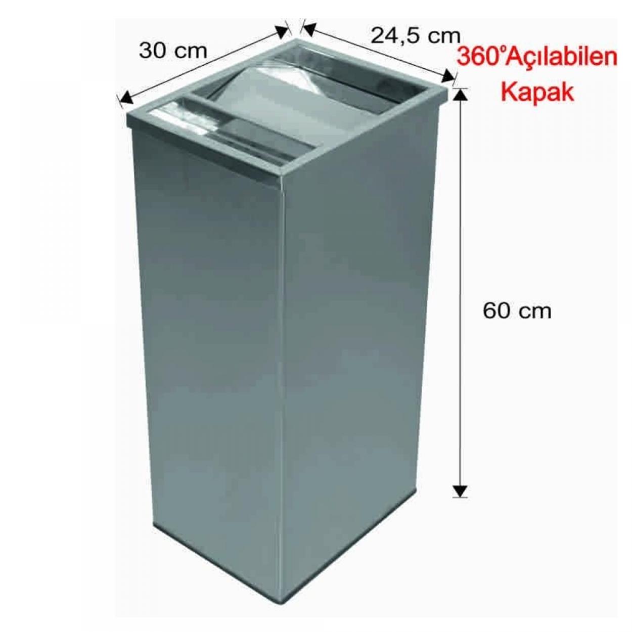 Küllüklü Çatı Kapaklı Çöp Kovası Paslanmaz 45 Litre