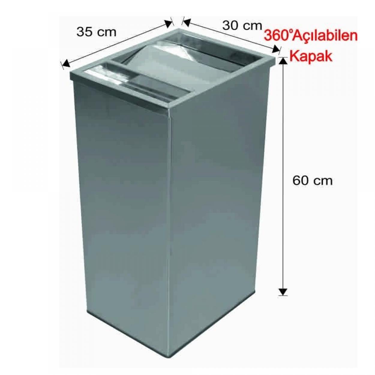 Küllüklü Çatı Kapaklı Çöp Kovası Paslanmaz 63 Litre