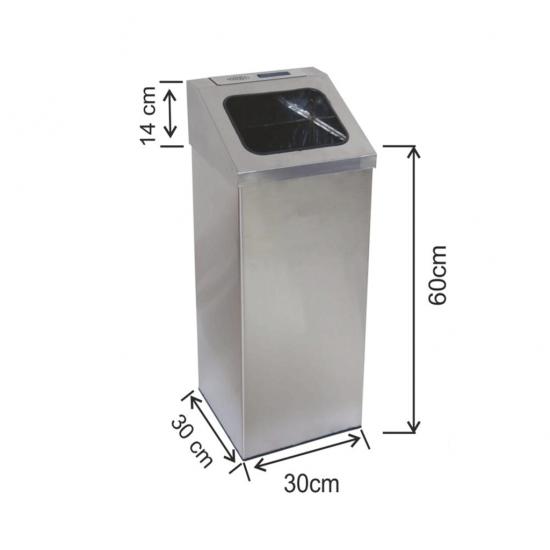 Küllüklü Çöp Kovası Paslanmaz 54 Litre