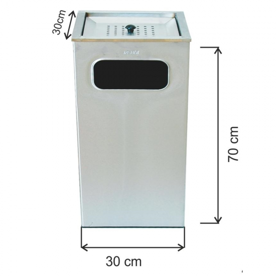 Küllüklü Çöp Kovası Paslanmaz 63 Litre