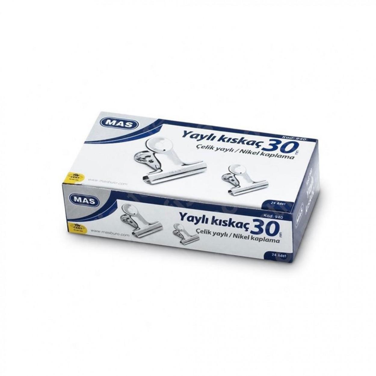 Mas 940 Beyaz Metal Kıskaç 30 mm 24 Lü Paket
